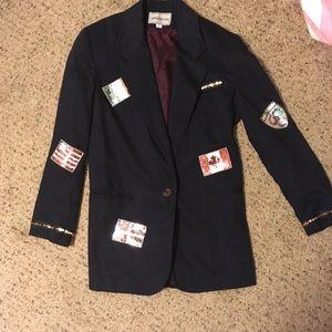 Vintage Olympics theme sequin flag navy blazer
